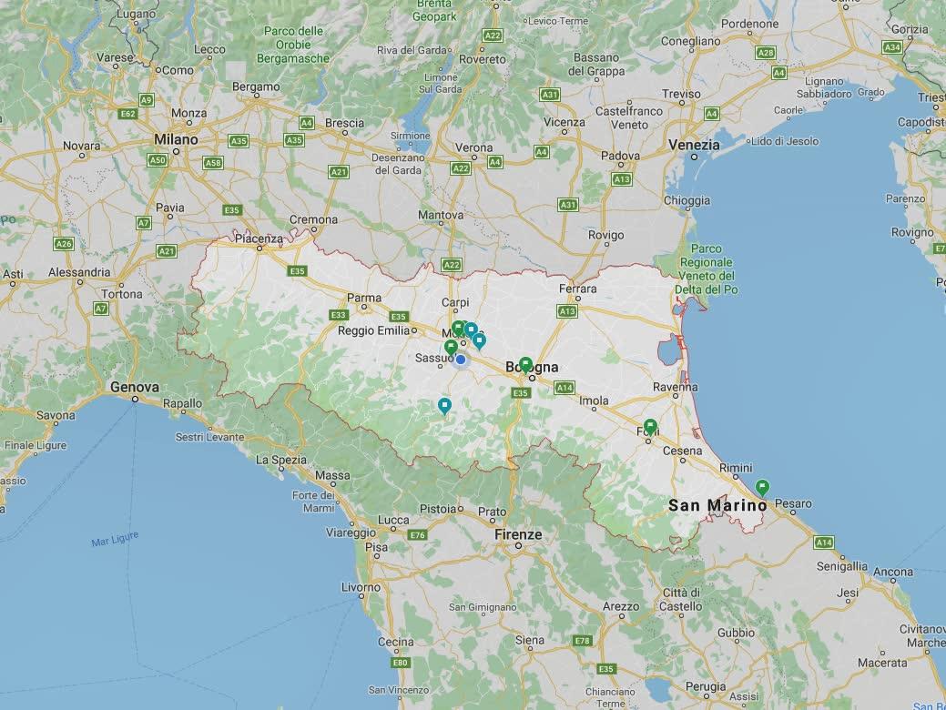 Cartina con evidenziata la regione Emilia Romagna.